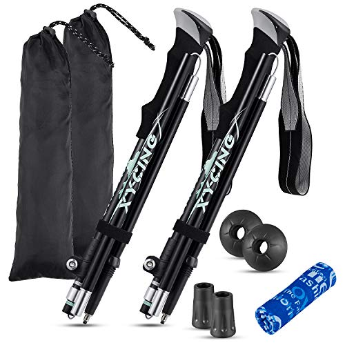 XYCING Trekking Poles Collapsible Hiking Poles, 2 Pack Adjustable Auminum Alloy Hike Walking Sticks Foldable Lightweight for Hiking Camping (Black)
