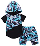 Kids Baby Boys Girls Camouflage Printed Hooded T Shirt Tops+Shorts Harem 2Pcs Outfits Size 18-24 Months/Tag100 (Blue)