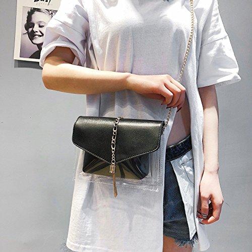 Composite Pink Fashion Tassel Bag Womens Crossed Elegant Black Bag Jelly Plastic Bag Body Bag Chain Transparent Sodial Shoulder Bags 17gqF