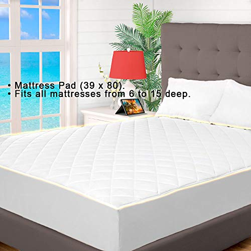 Cooling Mattress Topper Twin Xl Quilted Fitted Mattress Pad Hypoallergenic Down Alternative Fiberfill Stretch to Fit All Mattresses from 6 to 15 Deep a Fully Elasticized Deep Fitted Skirt Microfiber by Indipartex (Image #3)