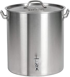 BREAUXS 80 Quart Stainless Steel Stock Pot with Raised Deep Steamer Strainer, Boil Basket