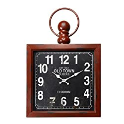 Adeco CK0010 Distressed Brown Vintage-Inspired Pocket Watch Style Wall Hanging Clock Old Town Clocks Home Decor, Black, Walnut, Red, Black