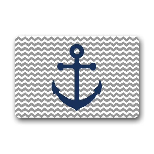 Grey Chevron Pattern With Blue Anchor Art Print Doormats Entrance Mat Floor (Anchor Patterns)