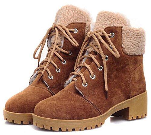 Idifu Womens Warm Platform Mid Chunky Heels Enkel Snowboots Fleece Gevoerd Lace Up Martin Booties Brown
