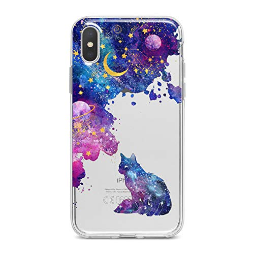 Lex Altern TPU Case for iPhone Apple Xs Max Xr 10 X 8+ 7 6s 6 SE 5s 5 Galaxy Soft Colorful Lightweight Abstract Pattern Purple Stars Clear Cat Smooth Print Design Flexible Slim fit Cover Gift Cute