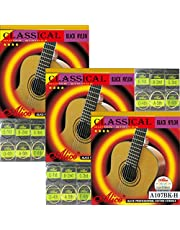3 Packs Full Set Replacement Alice A107BK Hard Tension Black Nylon Gold-Plated Copper Alloy Wound Classical Guitar Strings (.0285 .0325 .041 .030 .036 .044)