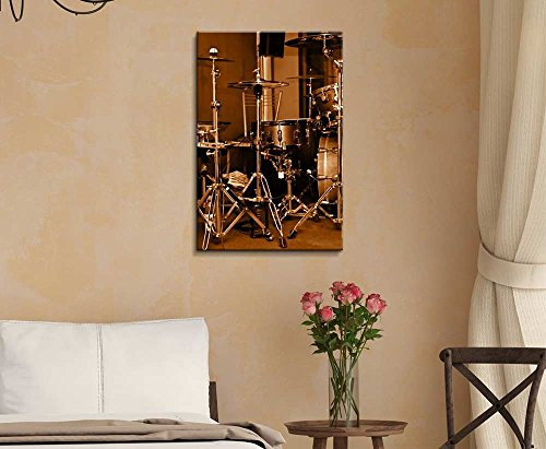 Drum Kit Drum Set with Gilded Color Vintage Retro Style Wall Decor