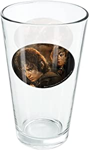 The Lord Of The Rings Frodo And Sam Characters 16 oz Pint Glass, Tempered Glass, Licensed Printed Design & A Perfect Fan Gift | Great for Cold Beverages, Soda, Water