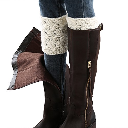 - MizuAmor Women Short Crochet Boot Cuffs Knitted Leg Warmers (White)