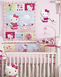 Lambs & Ivy Bedtime Originals Hello Kitty and Puppy 4-Piece Baby Crib Bedding Set, Pink (Discontinued by Manufacturer)