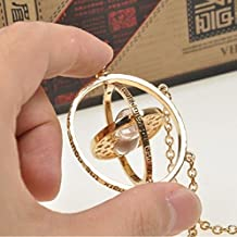 ZSSHAN Spinning Time Turner Harry Potter Necklace Hermoine Granger Rotating Hourglass (Color: Gold)