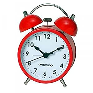 Reloj Despertador Analógico Retro Vintage con Alarma y Pila incluida 2839rojo