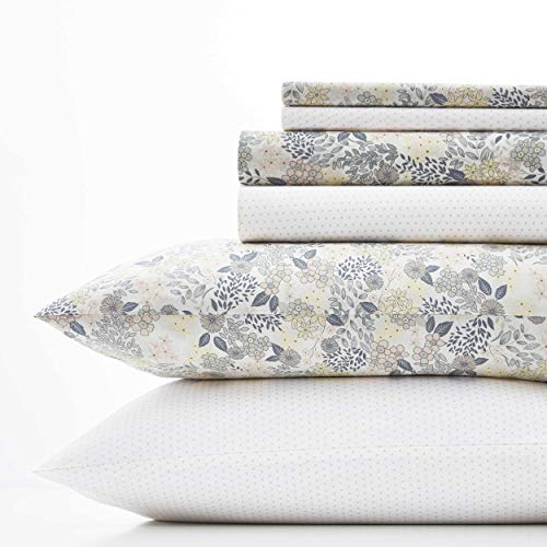 Laura Ashley Sugar Almond Floral/Dots Sheet Set, King, - Sheets Cotton Laura Ashley