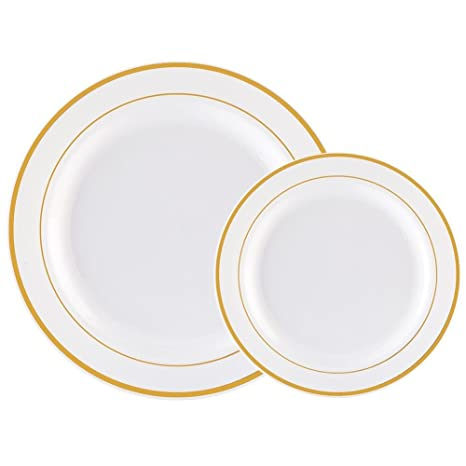 60PCS Heavyweight White with Gold Rim Wedding Party Plastic PlatesDinnerware Sets30-  sc 1 st  Amazon.com : plastic dinnerware sets for wedding - Pezcame.Com