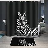 zebra fabric shower curtain - Antart Black-and-white Zebra Shower Curtain 71x71 Inch and Matching Mat Set - Mildewproof Waterproof Polyester Fabric - Digital Printing - With 12 Hooks Accessories Bathroom - Animal Theme