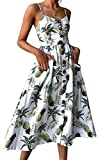 Oops Style Women's Summer Floral Pineapple Boho Midi White Dress Plus Size