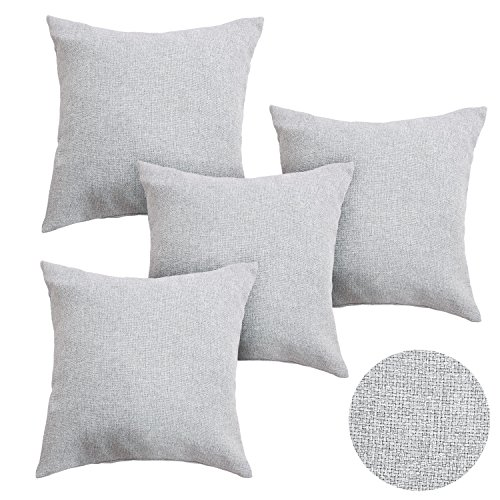 Deconovo Woven Fine Faux Linen Throw Cushion Case Pillow Cover With Invisible Zipper For Sofa 18x18 inch Light Grey 4 Pcs (Light Grey Throw Pillows)