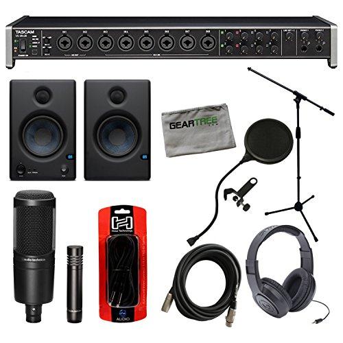 Tascam US-20x20 USB Interface w/Studio Monitors, Headphones, Mic Stand, 2 Micro -  US20X20