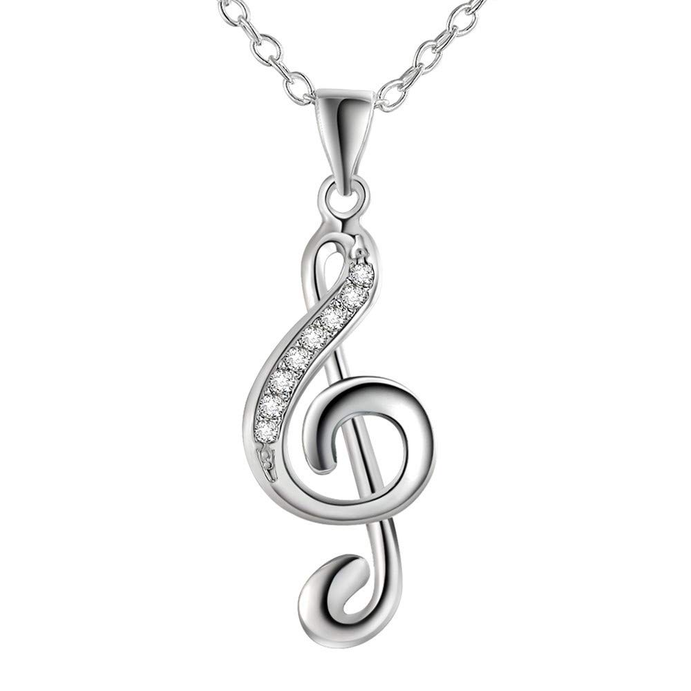 Necklace Pendant Stone Inlay Necklace Jewelry Chic Treble G Clef Music Pendant Jewelry Necklace for Women (Silver)