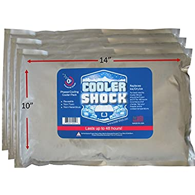 3 Lg. Cooler Freeze Packs 10 x14  - No More Ice! Cooler Shock Replaces Ice and Is Reusable