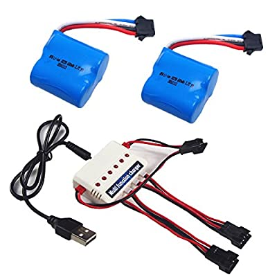 Wwman 2pcs 3.7v 600mah Official Battery and 1to3 Charger for Udi 001 Rc boat Spare Parts