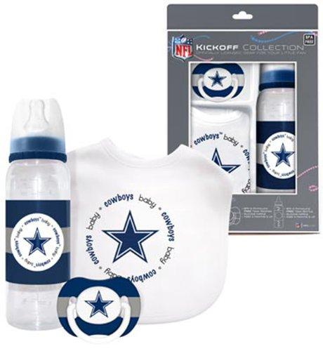 Dallas Cowboys Baby Three Piece Gift Set Feeding Bib Bottle Pacifier