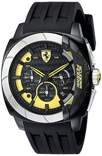 Price comparison product image Ferrari Men's 830206 Aerodinamico Black Watchwith Silicone Strap