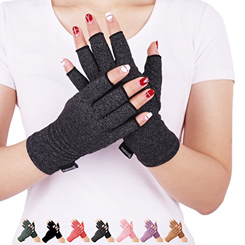 Arthritis Compression Gloves Relieve Pain from Rheumatoid, RSI,Carpal Tunnel, Hand Gloves Fingerless for Computer Typing and Dailywork, Support for Hands and Joints (Black, Small) by DISUPPO