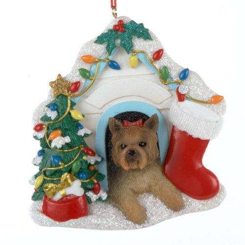 """Kurt Ader 3.75"""" Yorkshire Terrier (Yorkie) in Christmas Decorated Dog House Resin Ornament"""