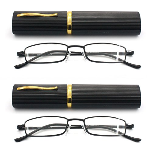 Eye-Zoom 2 Pack Ultra Slim Compact Lightweight Tube Reading Glasses with Portable Clip Aluminum Case, Black Strength - Glasses For Slim Face