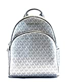 Michael Kors Abbey Signature PVC Leather Medium Backpack Purse (Silver Signature)