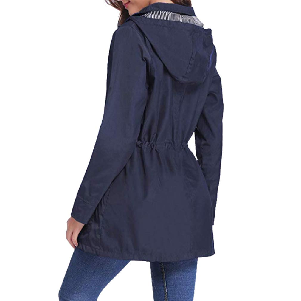 Mxssi Mujer Capucha Gabardina Cortavientos Impermeable Patchwork Impermeable a Prueba de Viento con Cordones Abrigos Casuales