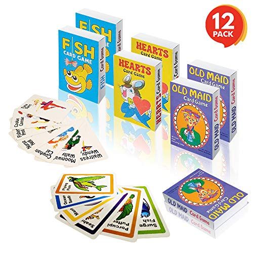 Gamie Classic Playing Card Game Set for Kids (12 Decks) | Includes Hearts, Go Fish, and Old Maid | Fun Educational Tool | Party Favor for Boys and Girls, Goody ()