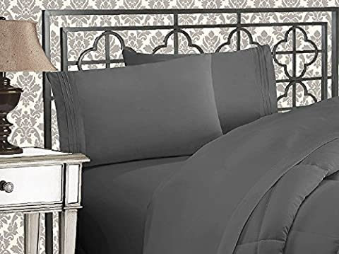 Elegant Comfort 1500 Thread Count Wrinkle & Fade Resistant Egyptian Quality Ultra Soft Luxurious 5-Piece Bed Sheet Set with Deep Pockets, Split King (Split King Sheet Deep Pocket)