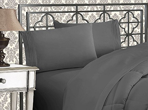 Elegant Comfort 4 Piece 1500 Thread Count Luxury Ultra Soft Egyptian Quality Coziest Sheet Set, King, Charcoal Grey