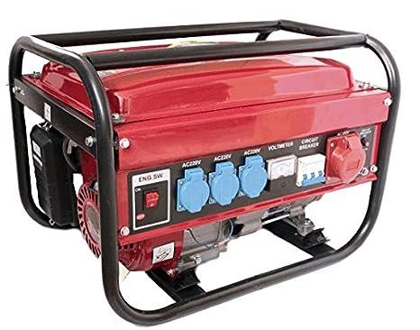 Generador electrico gasolina 230/380V 5500w trifasico monofasico x3 deposito 15L: Amazon.es: Jardín