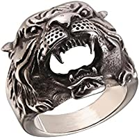U7 Men's Vintage Silver Black Stainless Steel Tiger Head Ring, Size 7 to 11