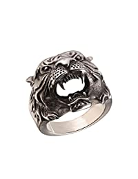 U7 Silver/Gold Black Tiger Head Band Ring Stainless Steel Biker Jewelry, Size 7-11