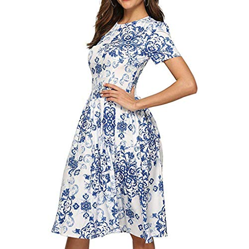 Womens Floral Short Dress,Summer Breathable Cool Feel Rose Printed O-Neck Short Sleeve Bodycon Classical Casual Mini Skirts (Blue, L)