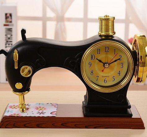 Máquina de coser Despertador de Sobremesa Reloj Estilo Antiguo Decoración escolar escritorios y creativas Despertador Dormitorio Noche Mesa Clock (aleatorio ...