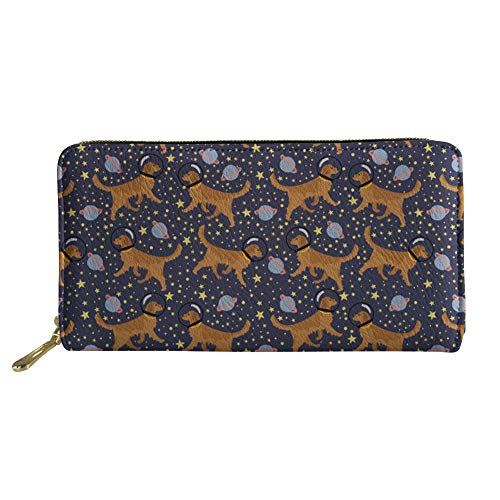Golden Retriever Space Dog Pattern Women Long Wallet Leather Clutch Purse Money Bag Large Capacity Storage
