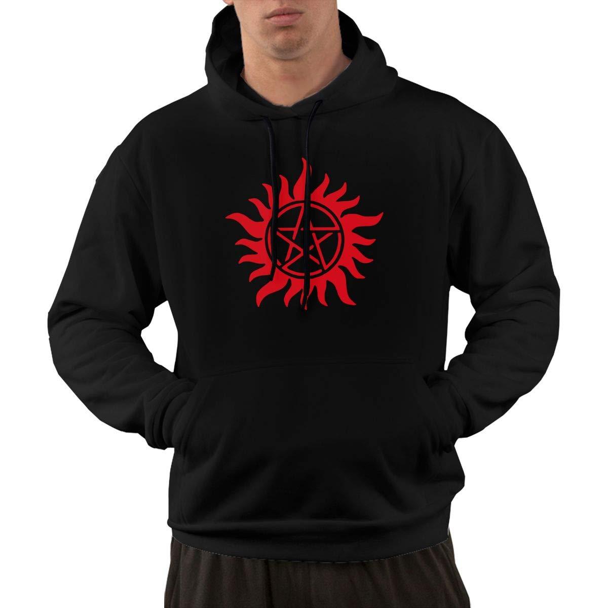 Supernatural Anti Possession Symbol 3 Mens Hooded Sweater NewCoat with Kanga Pocket Black