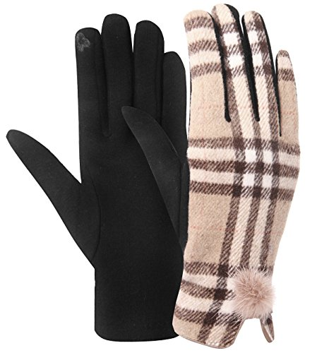 Womens Winter Gloves Womens Plaid checked Mittens (One Size, C-Camel)