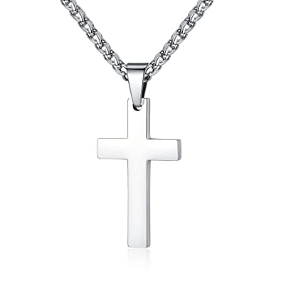 Amazon fosir stainless steel simple cross pendant necklace for fosir stainless steel simple cross pendant necklace for men women 22 24 inch chain aloadofball Images