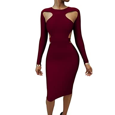 women sexy hollow out midi dress fall long sleeve bodycon bandage vestidos XD743 Royal blue S