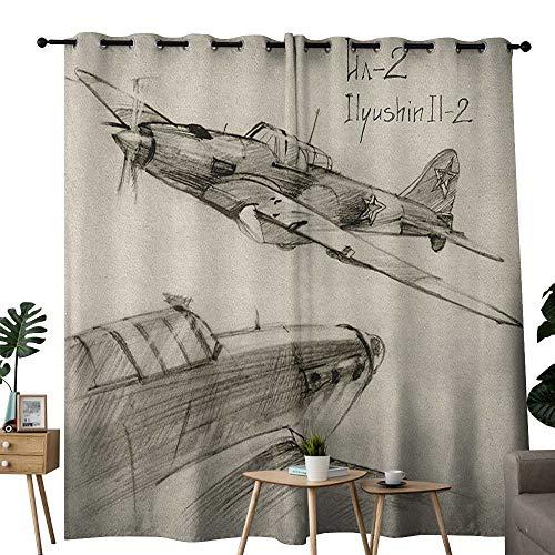 NUOMANAN Bathroom Curtains Airplane,Hand Drawn Series Soviet Military Enginery Jets Flights World War Aviation Sketch,Black Ecru,Room Darkening Waterproof Curtains for Bathroom 52