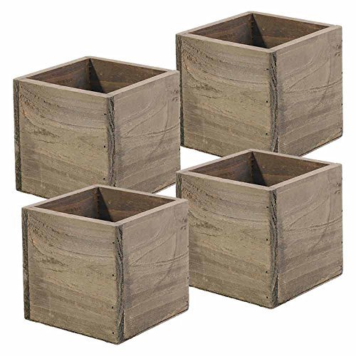 Wood Planter Box, 5 Inch Square, Rustic Barn Wood, Plastic Liner, Garden Centerpiece Display, Wedding Flowers Holder, Home and Venue Decor, (Set of 4)]()