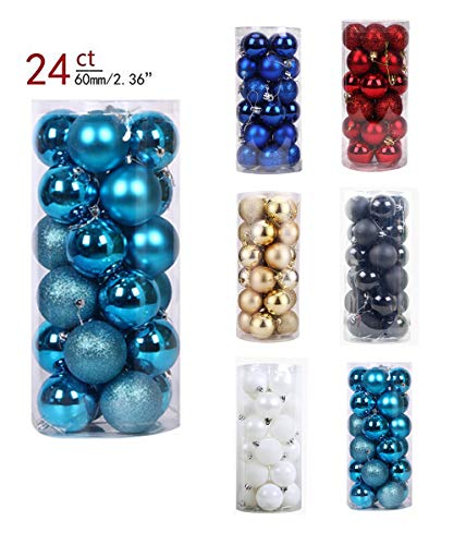 YOHO BUY 24ct Xmas Tree Balls Christmas Ball Ornaments Shatterproof Decoration for Home Wedding Party Decoration, Themed Tree Skirt(Not Included) (Babyblue)