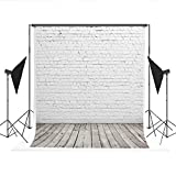 Kate Photography Backdrops White Brick Wall Background Light Gray Wood Floor Photo Studio Backdrop 10x15ft(3x4.5m)