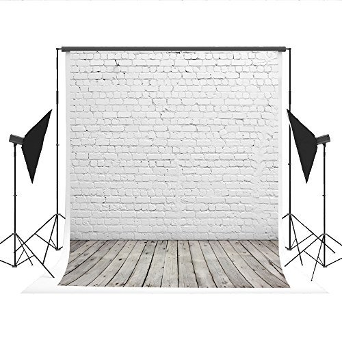 Kate Photography Backdrops White Brick Wall Background Light Gray Wood Floor Photo Studio Backdrop 10x15ft(3x4.5m) by Kate
